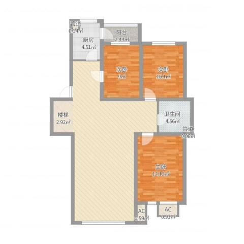 锦绣东方3室1厅1卫1厨132.00㎡户型图