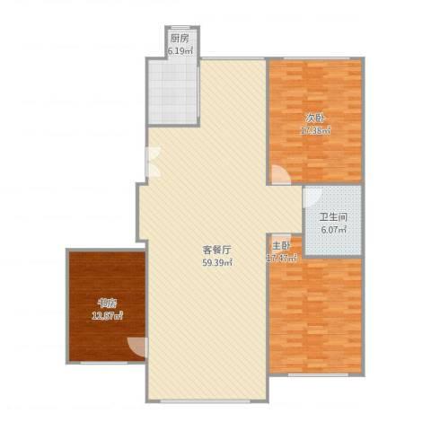 朝阳鸿盛世家109.79-112.50平米3室1厅1卫1厨158.00㎡户型图