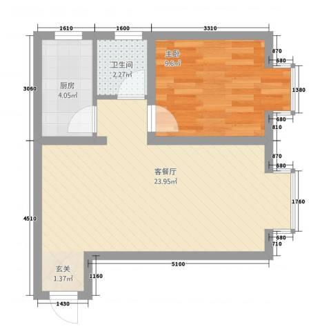 城南春晓1室1厅1卫1厨57.00㎡户型图