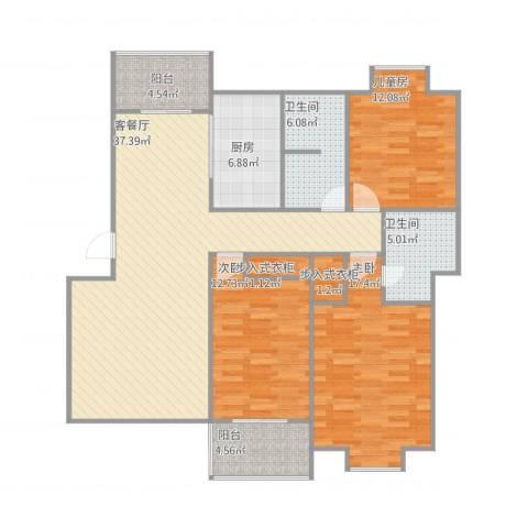 格林花园3室1厅2卫1厨147.00㎡户型图