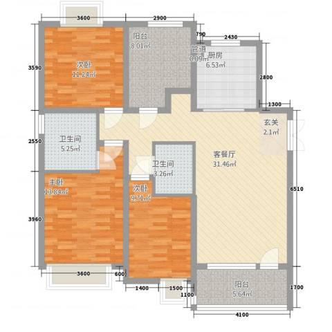 莲花湖公寓3室1厅2卫1厨136.00㎡户型图