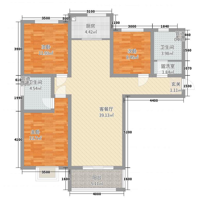 亿博书香苑3室2厅2卫1厨93.32㎡户型图