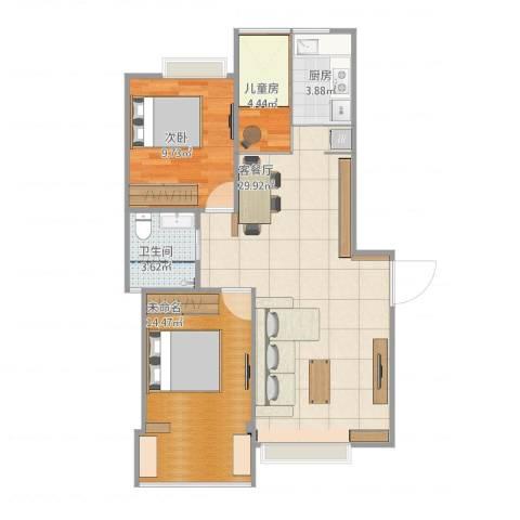 康桥半岛城中花园2室1厅1卫1厨100.00㎡户型图