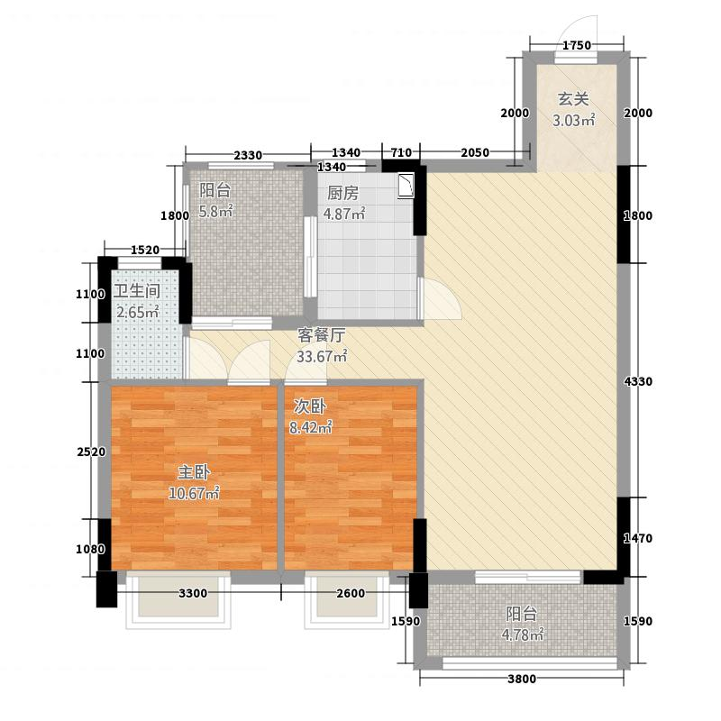 忠信丽雅苑86.00㎡1栋、2栋0户型2室2厅1卫1厨