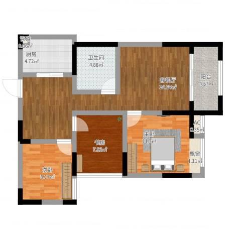 绿都温莎城堡3室1厅1卫1厨98.00㎡户型图