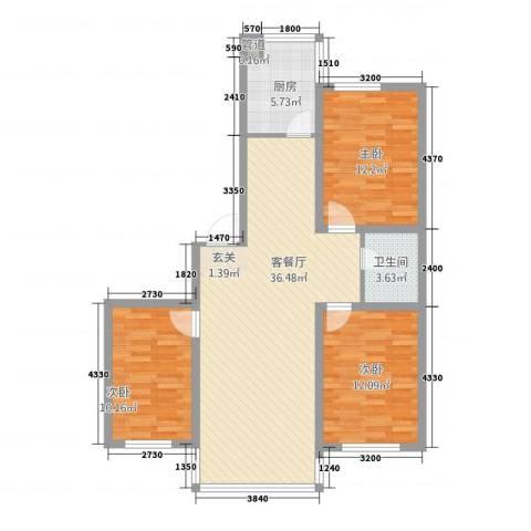 金芳地・俪都3室1厅1卫1厨114.00㎡户型图
