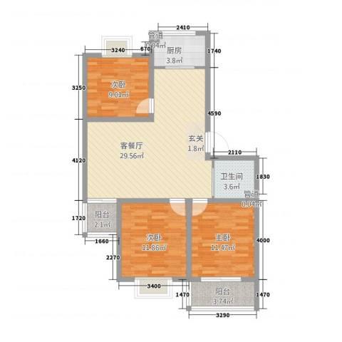 大铭山庄3室1厅1卫1厨75.23㎡户型图