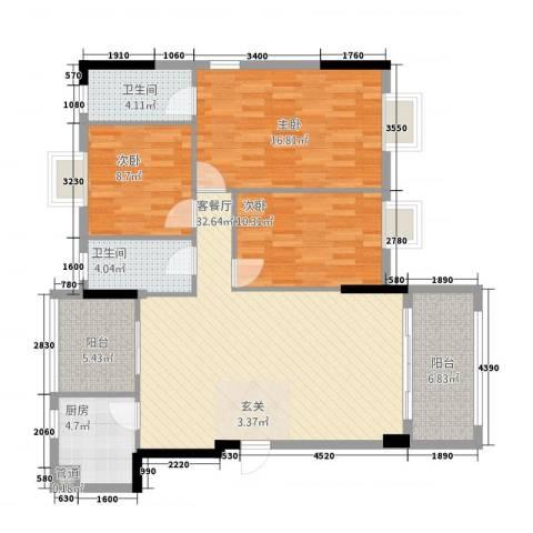 金叶阳光新城3室1厅2卫1厨125.00㎡户型图