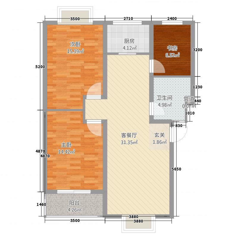 四季春城11号楼户型3室2厅1卫1厨