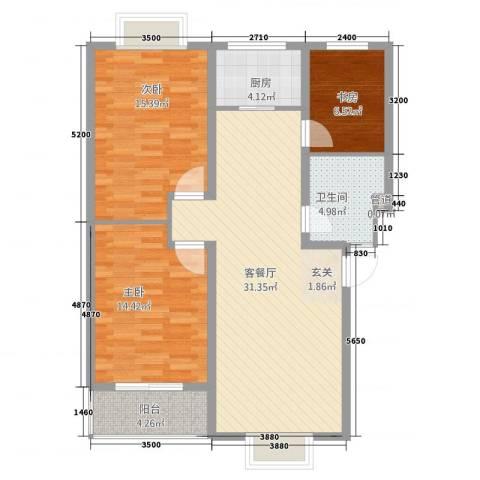 四季春城3室1厅1卫1厨115.00㎡户型图