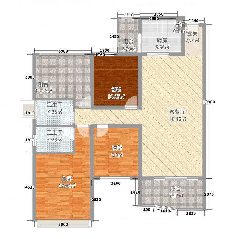 外滩新城4A户型3室2厅2卫