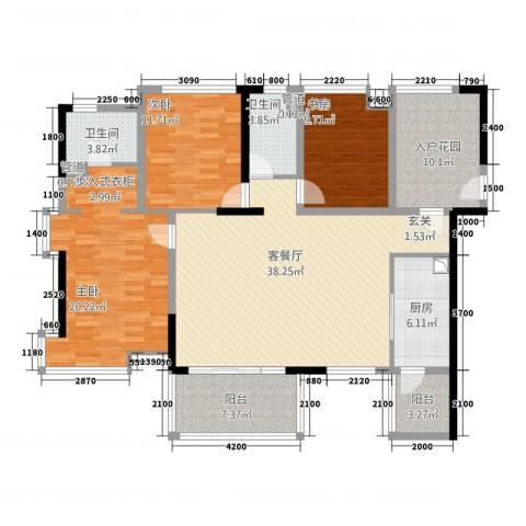 奥克斯中央大厦3室1厅2卫1厨164.00㎡户型图