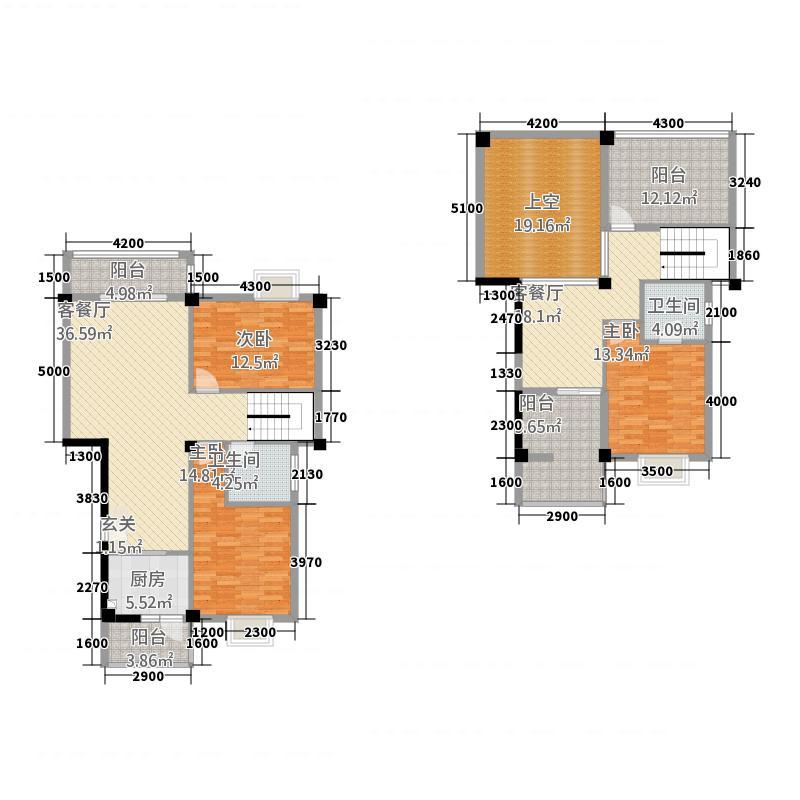 滨海阳光156.00㎡跃层B户型3室3厅2卫1厨