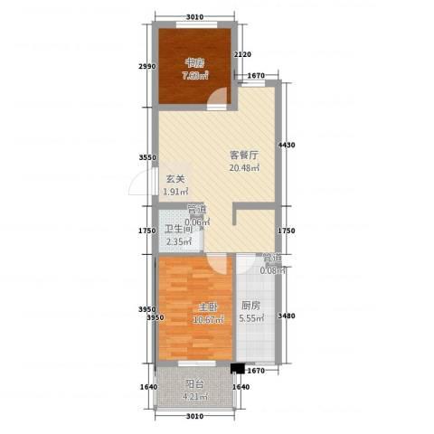 城南春晓2室1厅1卫1厨73.00㎡户型图