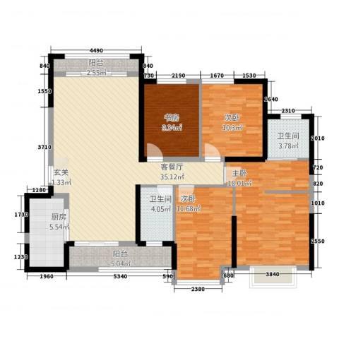 怡景万家4室1厅2卫1厨151.00㎡户型图