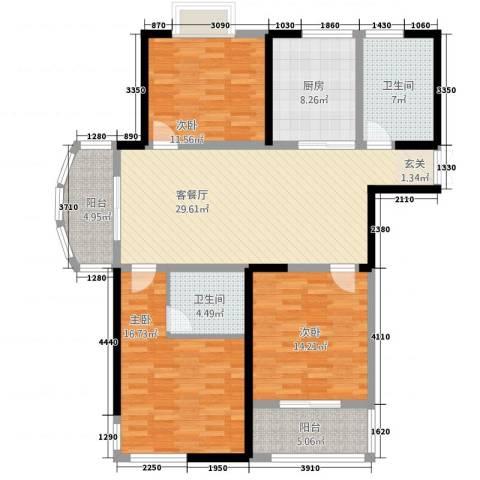胜利华庭3室1厅2卫1厨146.00㎡户型图