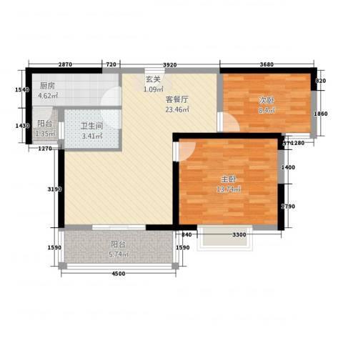 胜利华庭2室1厅1卫1厨85.00㎡户型图