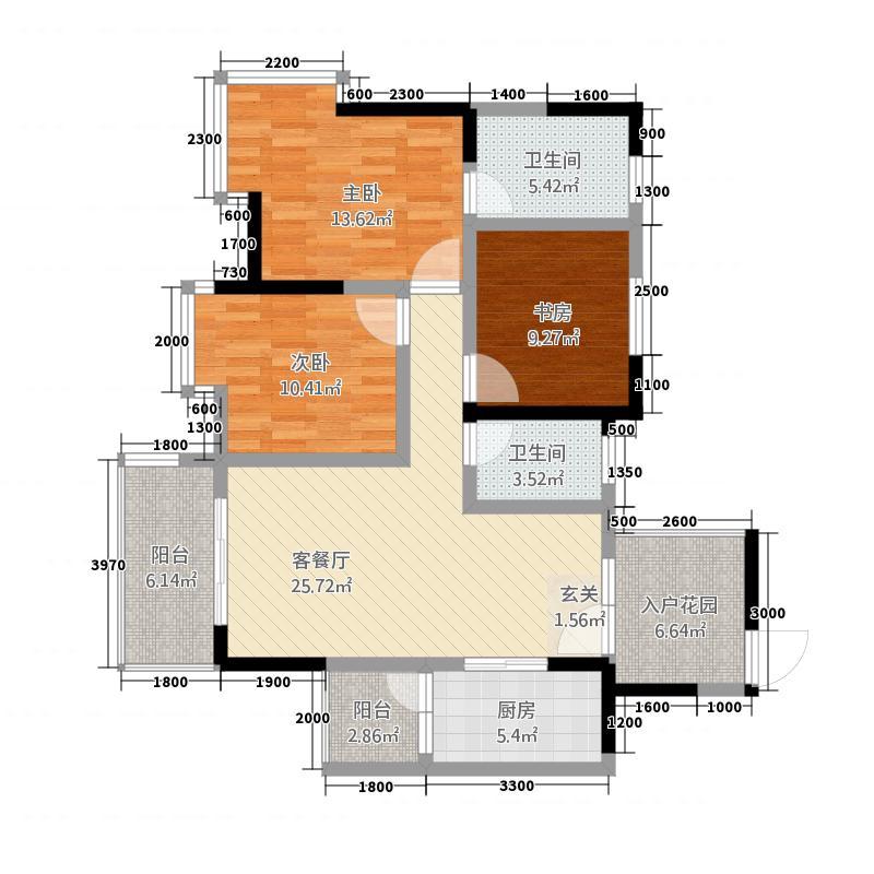 富临原山11.00㎡5【】户型3室2厅2卫1厨