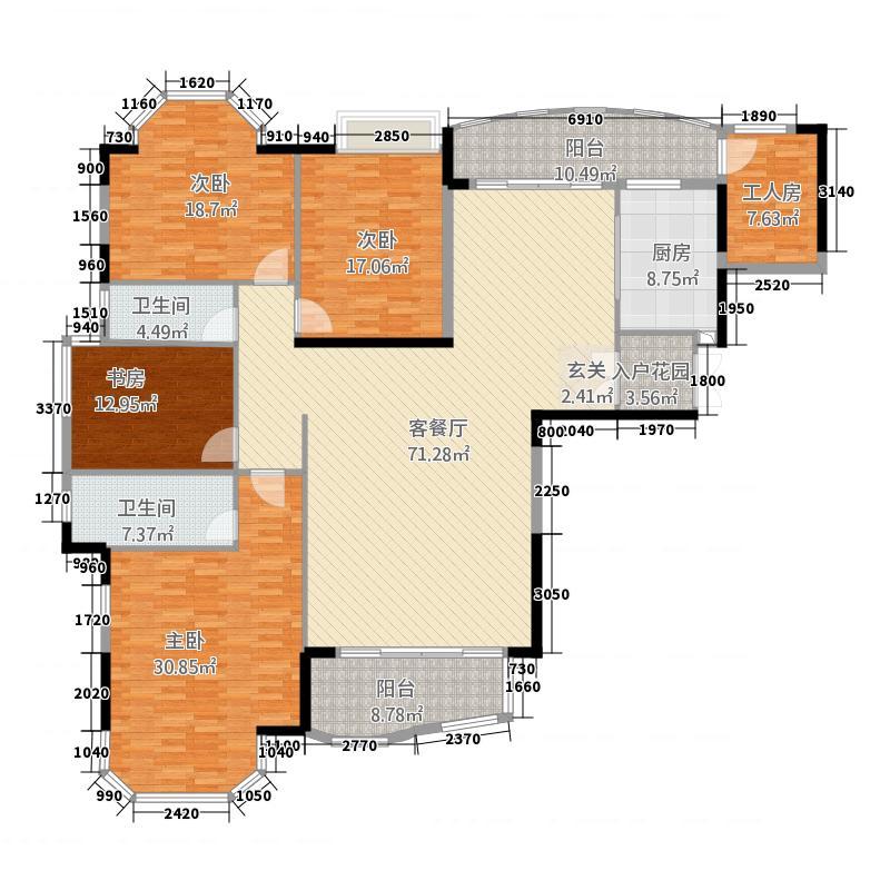富丽家园福安园278.00㎡户型5室2厅2卫1厨