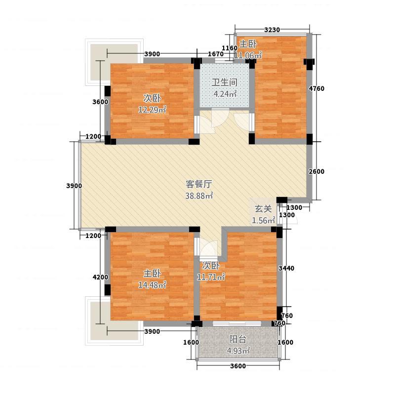兴龙兴和苑121.28㎡户型