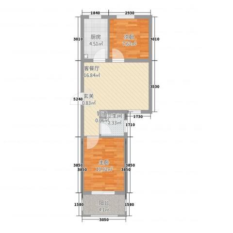 城南春晓2室1厅1卫1厨66.00㎡户型图