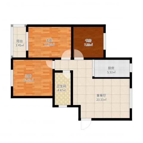 盘城新居3室1厅1卫1厨97.00㎡户型图