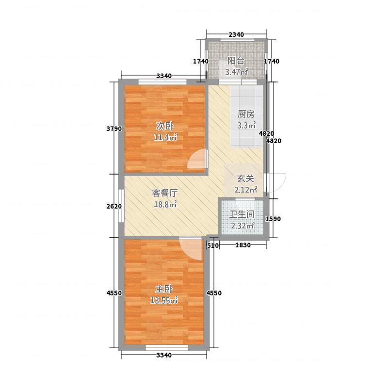 聚源花园户型2室1厅1卫1厨