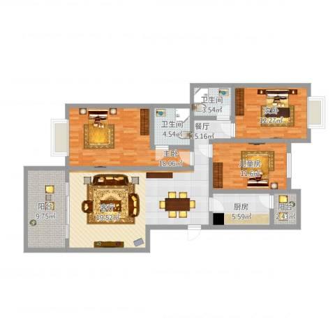 巴黎馨苑3室1厅2卫1厨130.00㎡户型图
