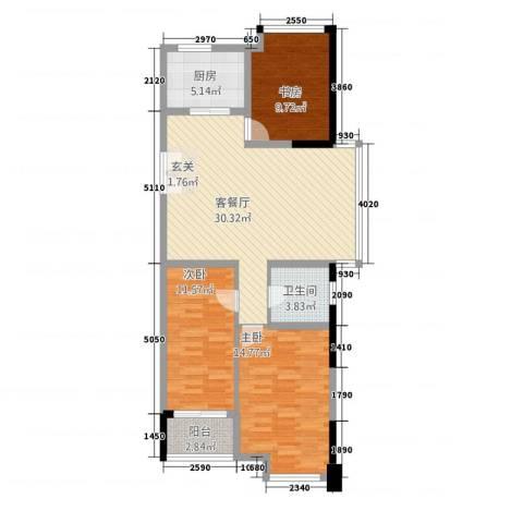 名仕佳园3室1厅1卫1厨113.00㎡户型图