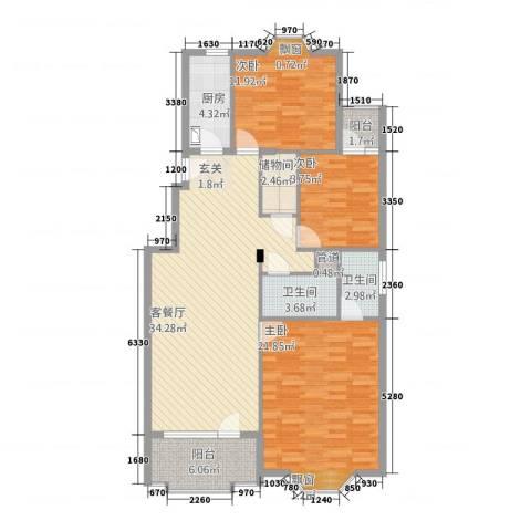 雅居园3室1厅2卫1厨138.00㎡户型图