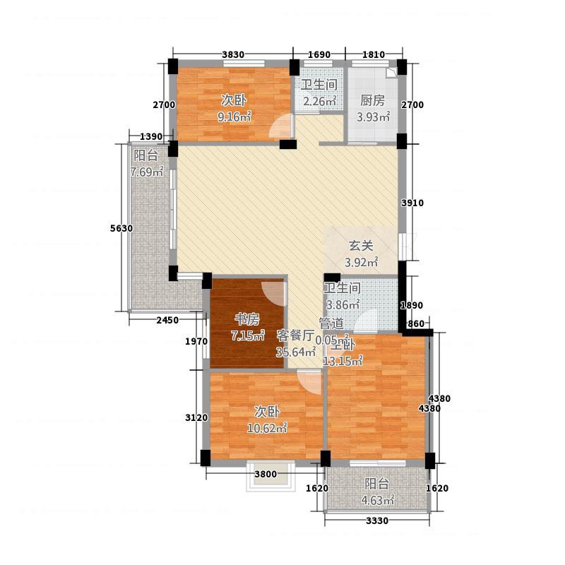 恒辉大景城137.00㎡3#4#楼A+书房户型3室2厅2卫1厨