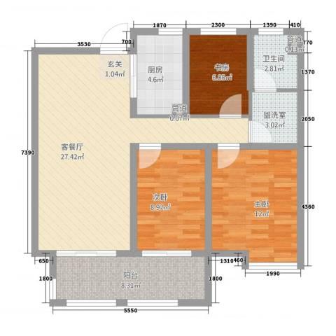 汽贸大厦3室2厅1卫1厨107.00㎡户型图