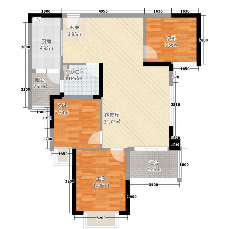 泸州恒大・御景湾7.44㎡户型3室2厅1卫1厨
