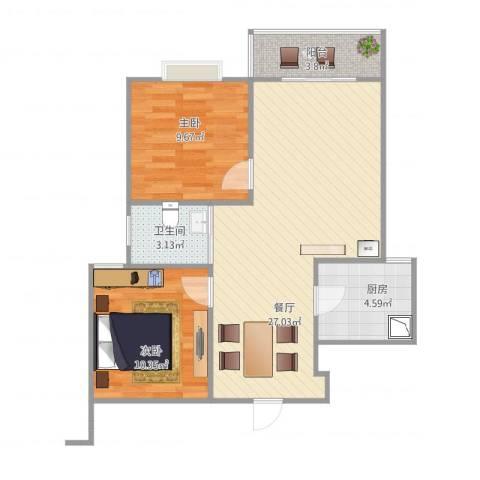 铁静苑三期2室1厅1卫1厨80.00㎡户型图