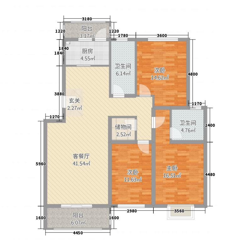 康庭嘉苑134.00㎡13号楼户型3室2厅2卫