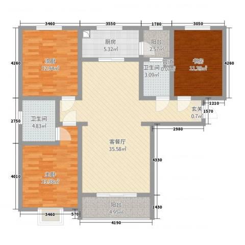 东龙府邸3室1厅2卫1厨136.00㎡户型图