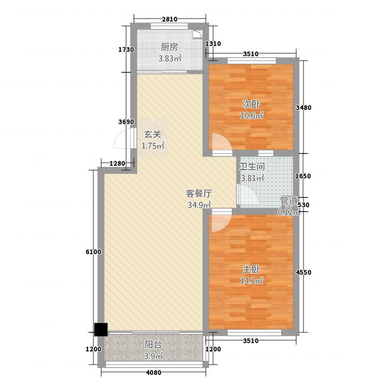奥润府新嘉苑瞰海高层B户型2室2厅1卫1厨