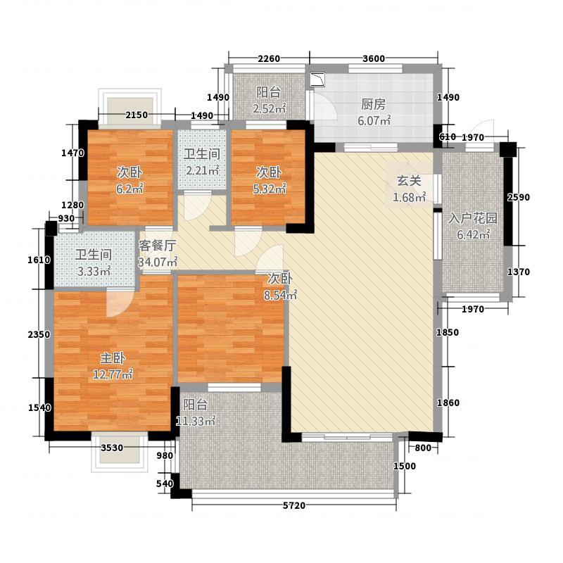 发现美院141.27㎡1座2栋01单位户型4室2厅2卫1厨
