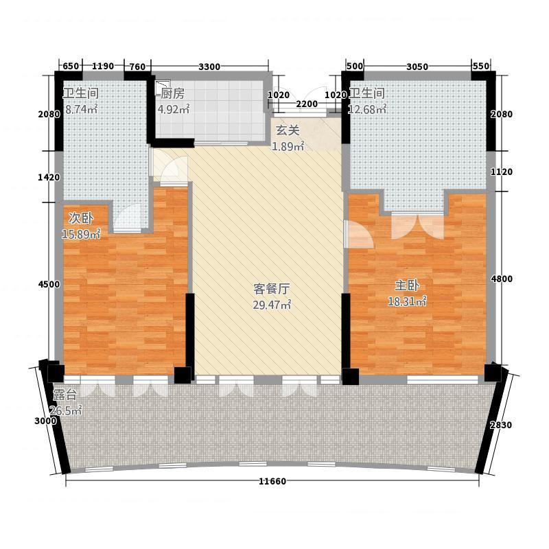 雅居乐海南清水湾166.80㎡翰海银滩洋房SA3-G户型2室2厅2卫1厨