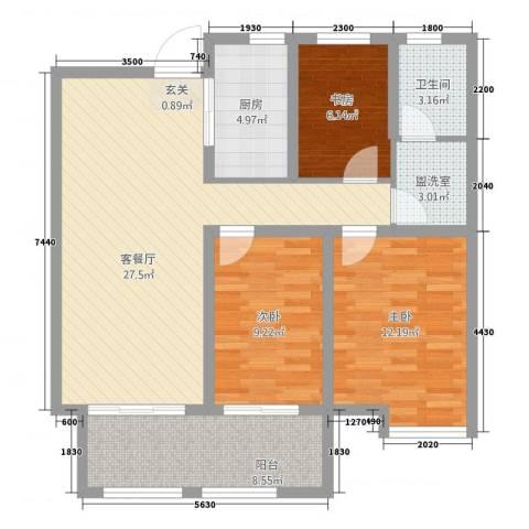 玉带公寓3室2厅1卫1厨108.00㎡户型图