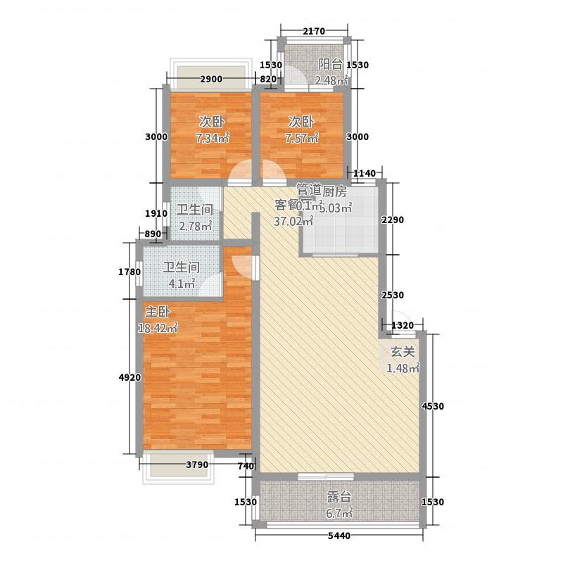 南湖雅苑111.00㎡+露台户型3室2厅1卫1厨