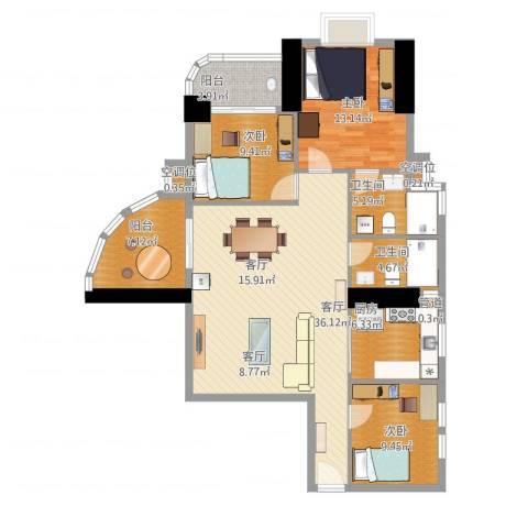 麓湖御景3室1厅2卫1厨140.00㎡户型图