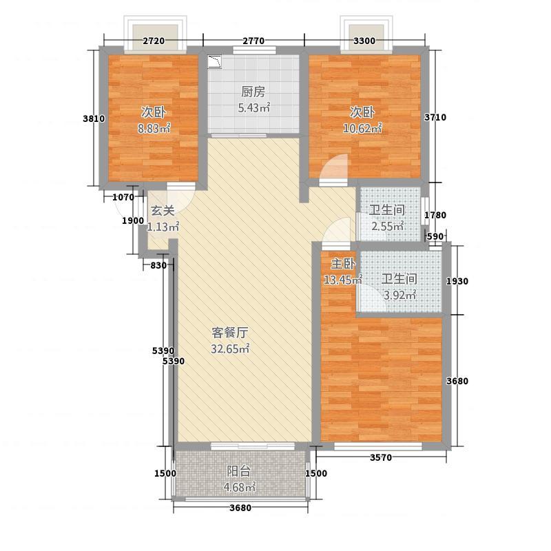 鑫苑景园115.70㎡户型3室2厅2卫1厨