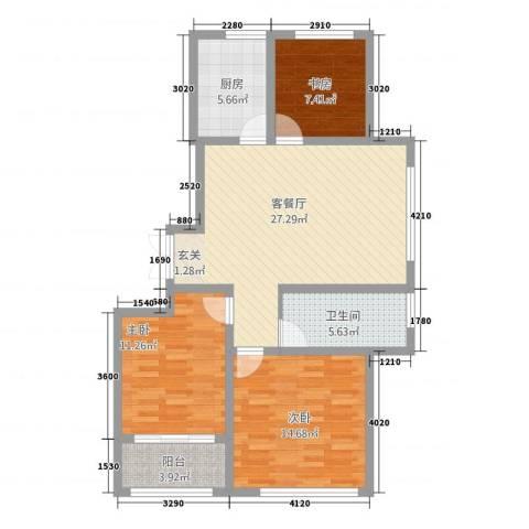 玉带公寓3室1厅1卫1厨109.00㎡户型图