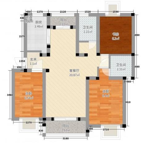 枫津新村3室1厅2卫1厨81.00㎡户型图