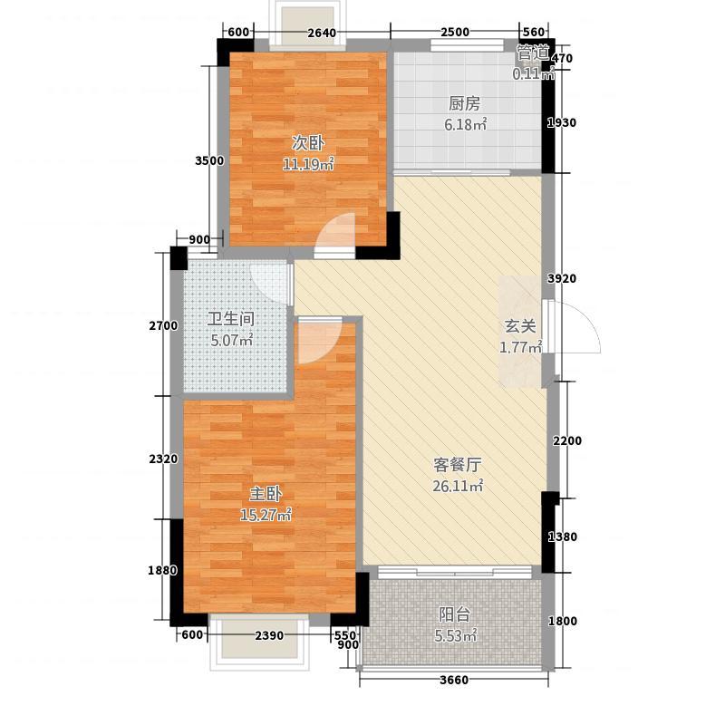 阳光山水户型2室