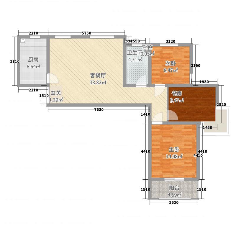 左邻右舍3室1厅1卫1厨118.00㎡户型图