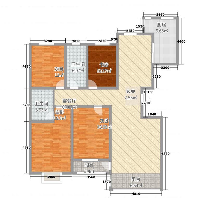 黄金住宅小区1户型4室2厅2卫1厨