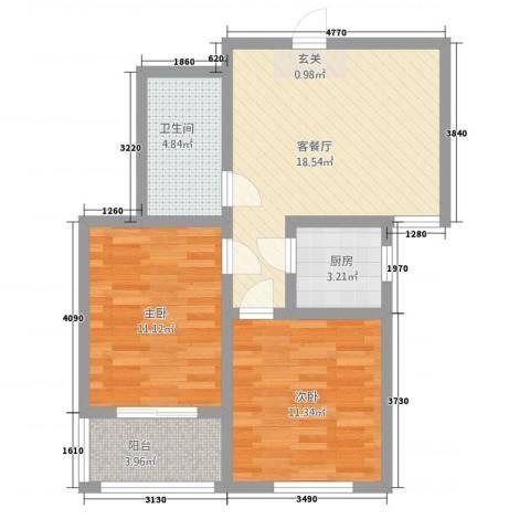 鹤壁锦绣家园2室1厅1卫1厨78.00㎡户型图
