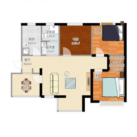 月珑湾3室3厅1卫1厨100.00㎡户型图